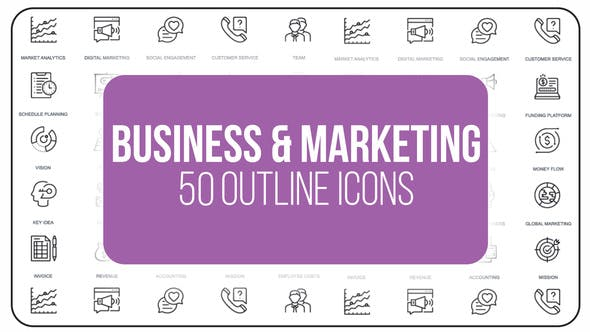 Photo of Marketing and Business – 50 Thin Line Icons – Videohive 23150938